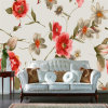 Waterproof Self Adhesive Lovey Elegant Floral Vinyl Murals Wallpaper for Living Room