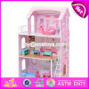 New Design 13 Pieces of Furniture 3 Floor Pretend Play Pink Wooden Cottage Dollhouse for Children W06A230