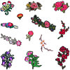 Iron on Floral Patches Embroidered Appliques DIY Decoration or Repair, Sew on Patches for Clothing Backpacks Jeans Caps Shoes