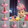 Baby Infant Birthday Hairband Flower Crown Headwear Cone Hat