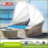 Outdoor Sun Bed Rattan Sun Lounger with Canopy (DH-8600)