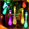 6m 30 LED Solar Christmas Lights 8 Modes Waterproof Water Drop Solar Fairy String Lights for Outdoor Garden