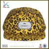 Custom Woven Label Leopard Print 5 Panel Snapback Cap Hat