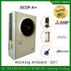 Europe Cold -25c Winter Heating Room + Dhw Evi Tech R407c 12kw/19kw/35kw/70kw/105kw Monobloc Compact Air Heat Pump Water Heater
