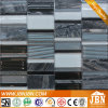 Mesh-Mounted Black Marble and Cold Spray Glass Mosaic Tiles (M855048)