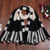 Black Geometic Printing Thick Polyester Fashion Scarf (HT04)