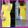 2015 Top-End Yellow Back Zipper Patchwork Dress Office Women Clothings in Summer (C-201)