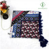 Retro National Style Geometric Printed with Tassels Lady Fashion Scarf