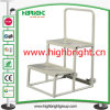 Two Wheels Two Steps Mini Ladder Trolley for Supermarket