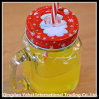 Set Glass Clear Jar with Handle and Straw