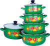 5PCS Enamel Casserole Set with Flower Printed