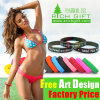 Promotional Debossed Embossed Silicone Rubber Band Stand Bracelet