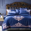Queen King Satin Silk Cotton Embroidery Luxury American Style Comforter Cover and Bed Sheet bedding Set