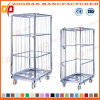 Warehouse Metal Wire Mesh Cage Roll Container with Wheels (Zhra76)