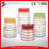 Colorful Glass Food Container Set 4 Custom Cookie Jar Decorative Airtight Glass Jar