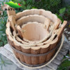 Three Set Round Wood Pot Wood Flower Planter for Garden