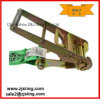 High Quality Green Polyester Retractable Ratchet Tie Down Strap for Cargo Lashing