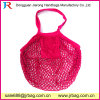 Rose Red Cotton Net Mesh Bag for Beach and Shopping