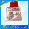 Professional Customized Zinc Alloy 2D/3D Copper Plated Metal Medal with Ribbon Attached