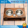 Custom Carbonized Brown Raised Wooden Pet Feeder for Dogs Cats