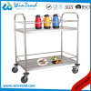 2tiers Round Tube Hand Push Moving Wine and Liquor Service Trolley