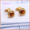 VAGULA Gold Plated Champagne Zircon Copper Cufflinks