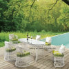 Leisure Cheap Outdoor Garden White Round Rattan Furniture Dining Chair&Table (YT893-1)