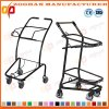 Two Baskets Metal Compact Grocery Shopping Trolley on Wheels (Zht222)