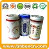 Round Tea Tinplate Box, Metal Tea Caddy, Tea Tin Box