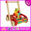 Wooden Block Trolly Baby Walker Push Along, Multi-Functional Colorful Wooden Big Baby Walker with Blocks W16e046