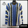 Women Fashion Blue Striped V-Neck Sweater