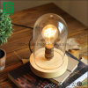 Vintage Wood Table Lamp E27 Rustic Wooden Desk Lamp with Plastic Cover