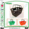 Plastic Shopping Baskets with Double Hands for Supermarket