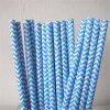 Striped Chevron Blue 100% Eco-Friendly Paper Straw