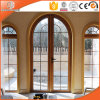 Round-Top Casement Window with Full Divided Light Grillen Glass Window Imported Solid Larch Wood Fixed Window
