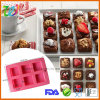 Factory Wholesale 6 Cavity Square Silicone Cupcake Tray