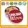 Customized Round Metal Cookies Tin for Christmas Holiday Festival Gifts
