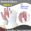 7g White Nylon Knitted Glove with Red PVC Dots