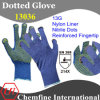13G Blue Nylon Knitted Glove with Yellow Nitrile Dots & Reinforced Fingertip/ En388: 214X
