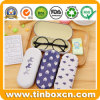 Metal Tin Boxes Reading Glasses Case with Flocking Cloth Inner