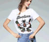 Occident Fashion Lady Bees Embroidered Cotton Short Sleeve T-Shirt