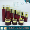 Cylinder Red Glass Cosmetic Bottles and Cream Jars