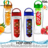 750ml Flat Tritan Fruit Infuser Water Bottle with Handle, Customized Plastic Water Bottle (HDP-0892)