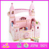 2014 New Cute Kids Wooden Castle Toy, Popular Pretend Toy Children Wooden Castle, Hot Sale Girls Pink Baby Wooden Castle Factory W06A054