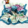 Lady Fashion Satin Silk Scarf with Feather Printed Shawl