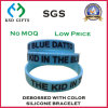Debossed Color Filled Sky Blue Silicone Wristband for Promotion