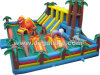 Fierce Animal Theme Inflatable Fun City, Big Jumping Castle with Slide