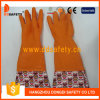 Ddsafety 2017 Orange Household Latex Flower Design PVC Cuff Working Gloves