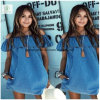 Newest off Shoulder Frill Denim Boat Neck Fashion Ladies Dress