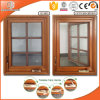 American Casement Window with Foldable Crank Handle Aluminum Clad Solid Oak Wood, Full Divided Light Grille Window